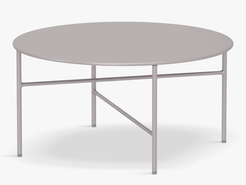 Round putty coloured garden table
