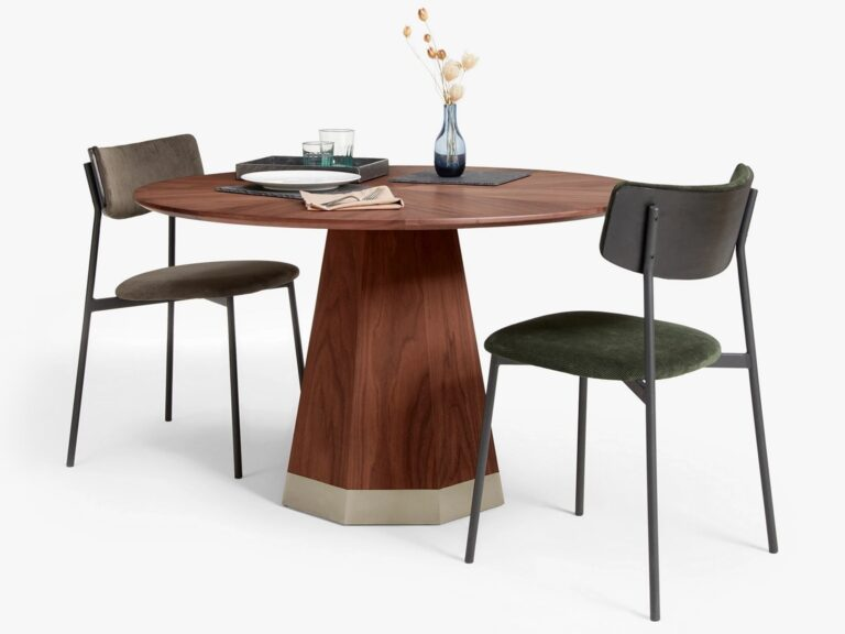 Walnut dining table with round top and conical base