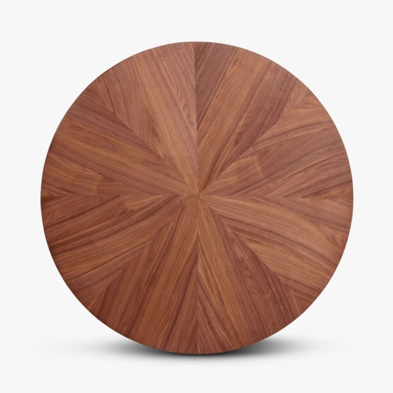 Round walnut veneer table top