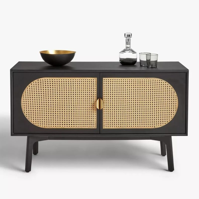 Black-painted sideboard with woven panel doors