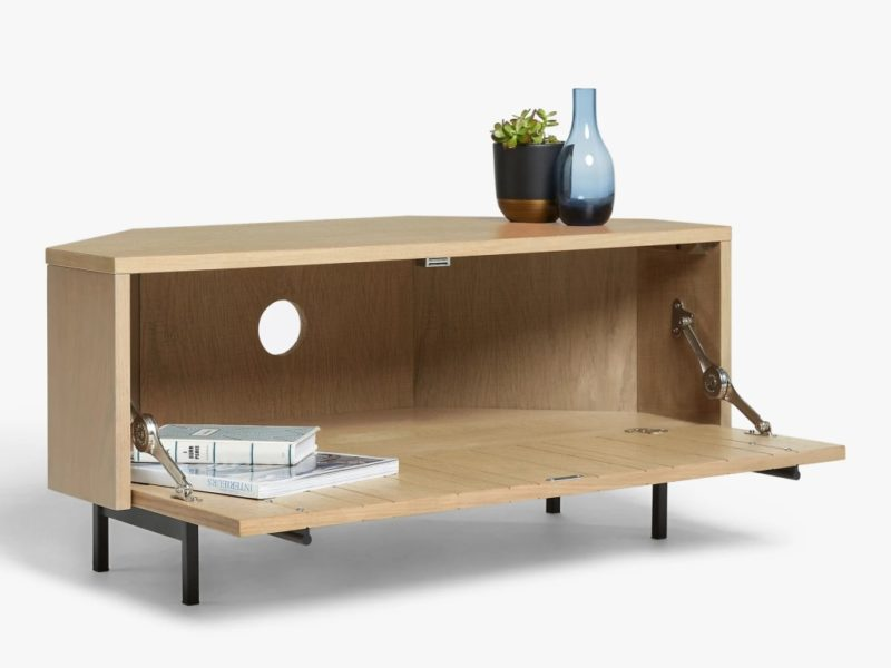 Oak corner TV stand with drop-down drawer