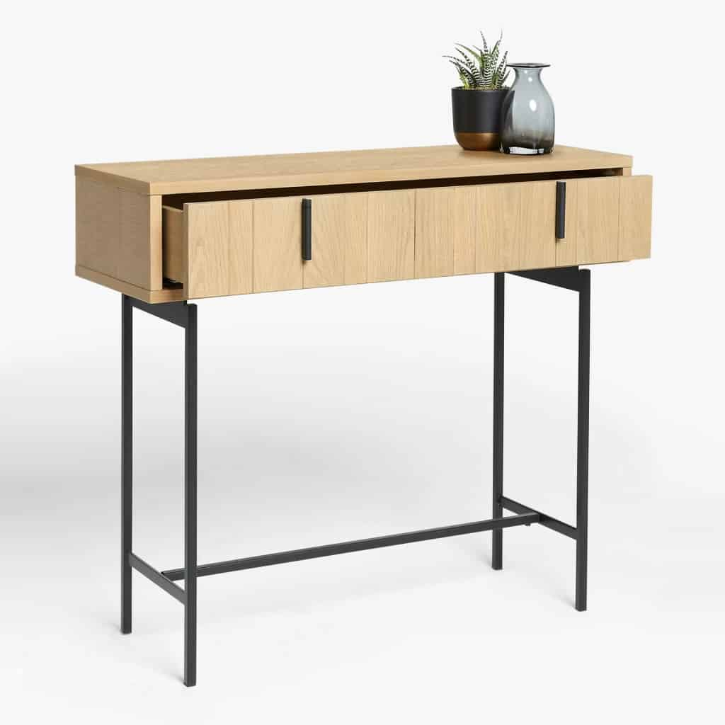Scandi-style console table with black metal legs