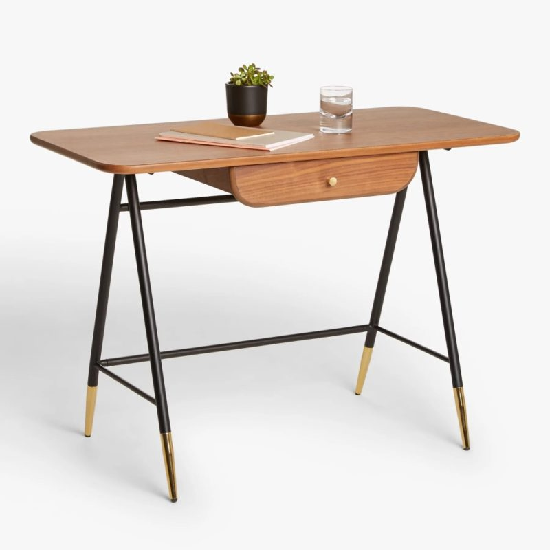 Minimalist walnut desk with black metal legs
