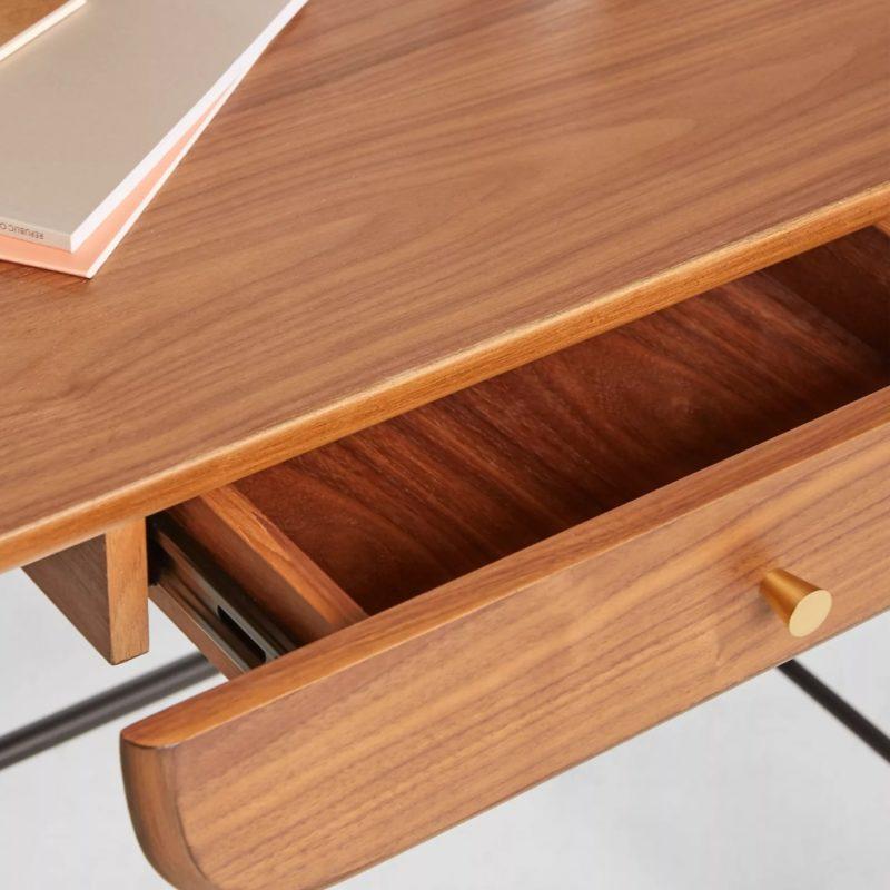Walnut veneer top, curved edge drawer