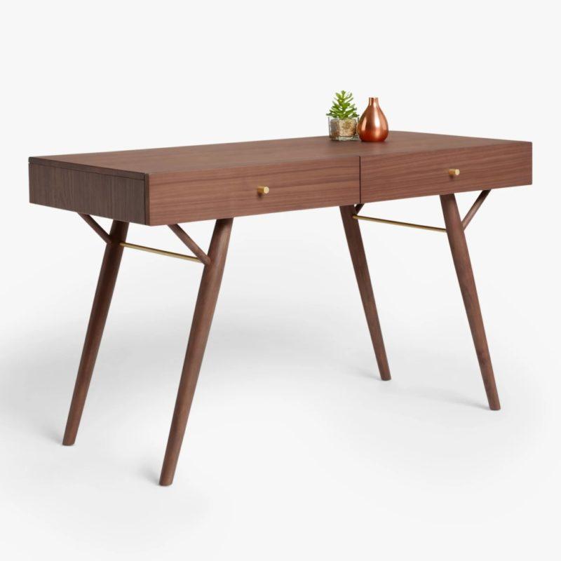 Retro-style walnut desk
