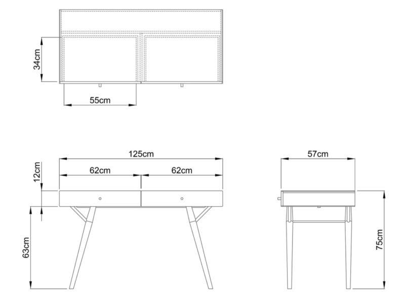 Penny desk dimensions
