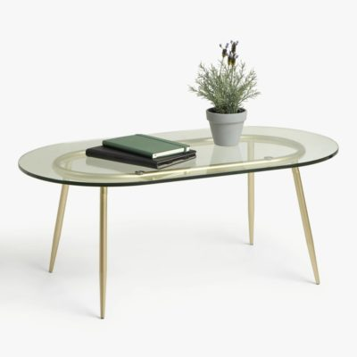 Glass topped coffee table with gold coloured metal frame