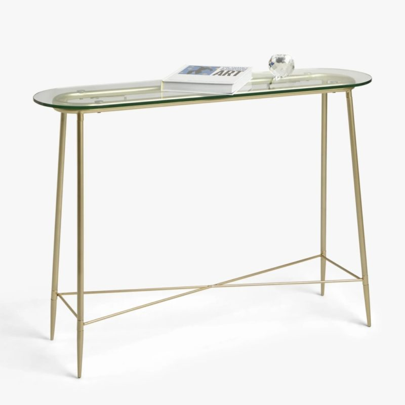 Glass top console table with gold coloured legs