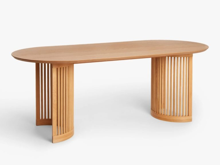 Wide oak dining table with spindle frame bases