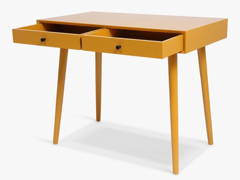 2 drawer mustard-painted desk