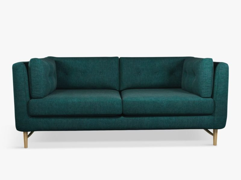 3-seater sofa with teal fabric upholstery
