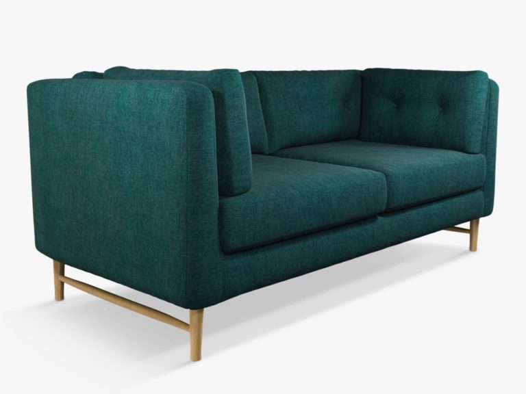 2-seater sofa with teal fabric upholstery