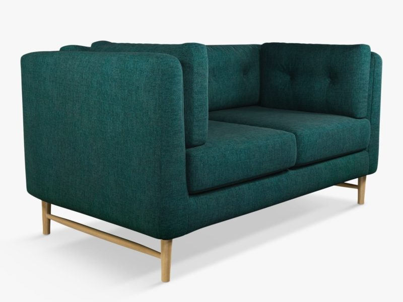 Small sofa with teal fabric upholstery