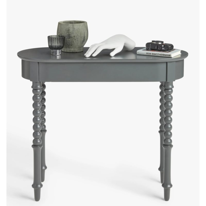 Grey-painted console table with bobbin legs
