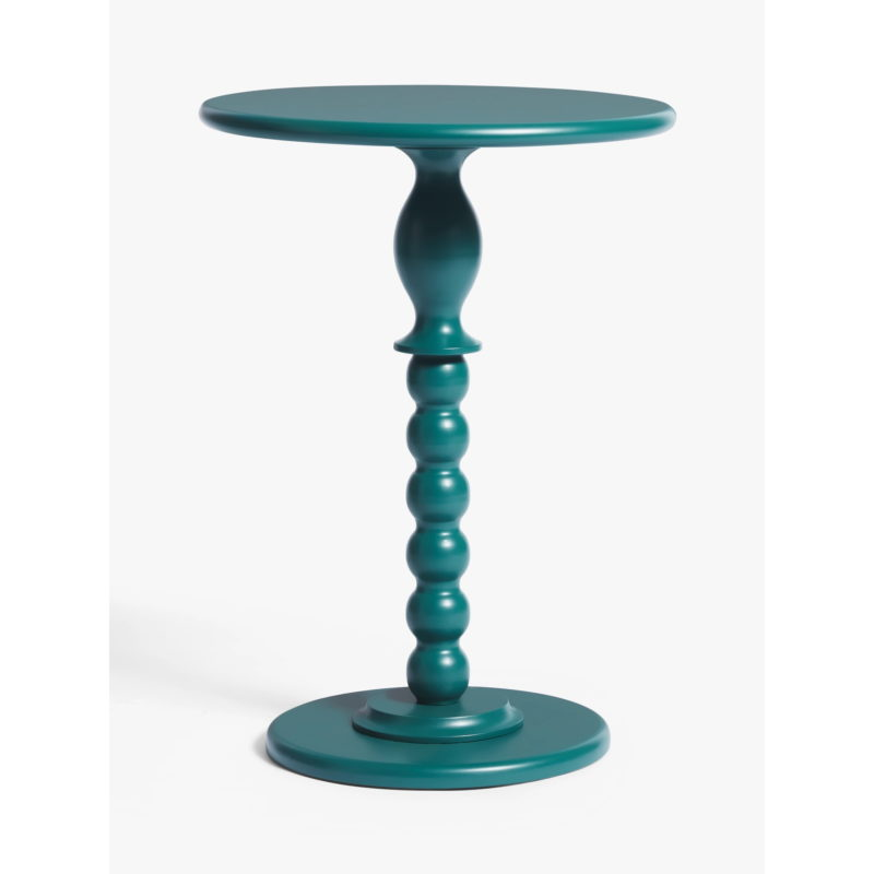Green painted side table with bobbin-style pedestal base