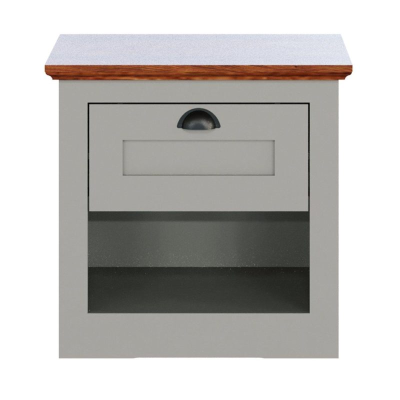 Grey-painted bedside unit with drawer and walnut finish top