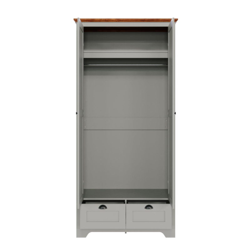 Grey-painted wardrobe with internal shelf and two drawers