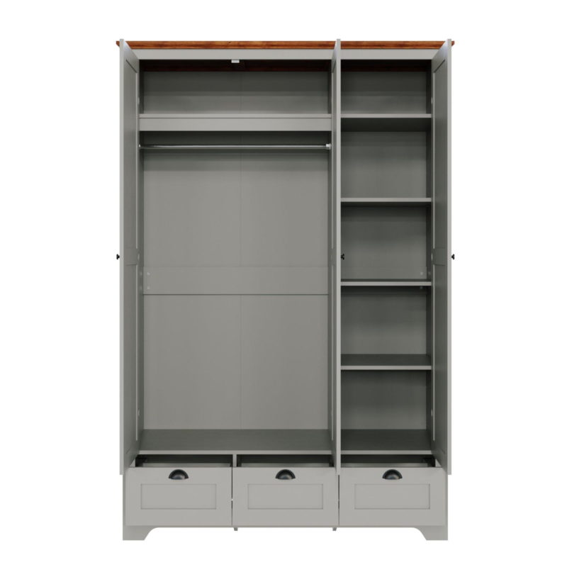 Grey painted 3-door wardrobe with drawers and internal shelving