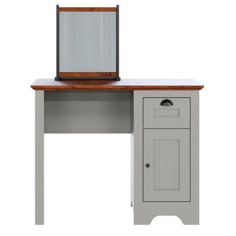 Grey-painted dressing table with mirror and walnut-finish top