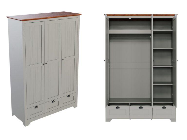 Grey-painted wardrobe with walnut finish top