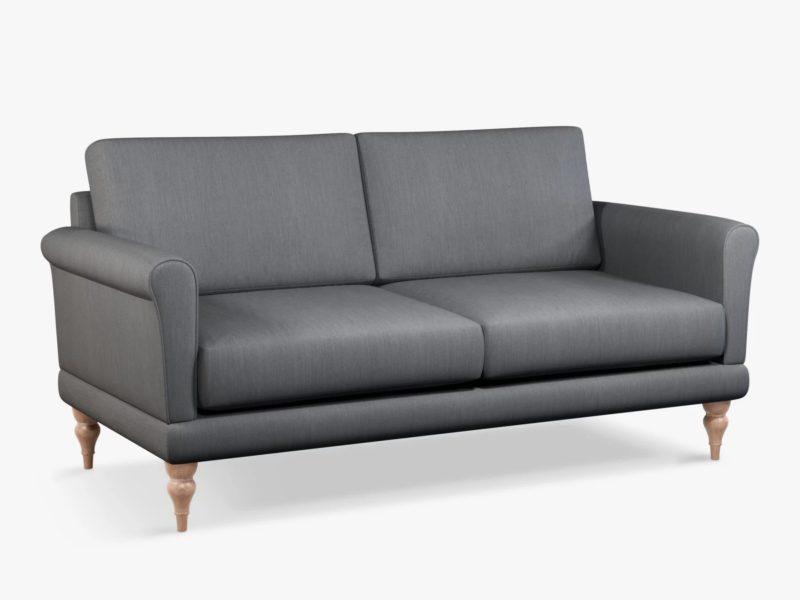 Medium sofa with grey fabric upholstery