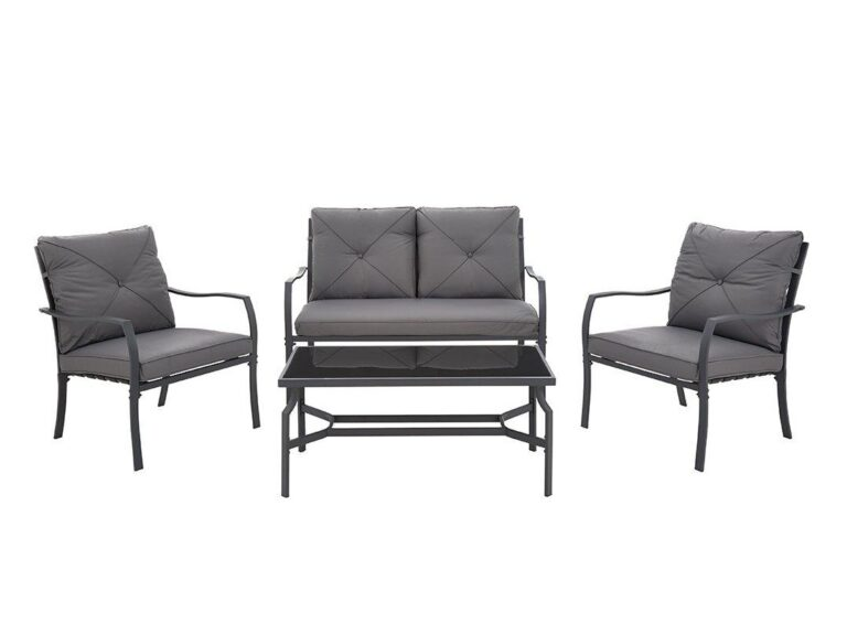 Outdoor sofa set with grey cushions and matching coffee table
