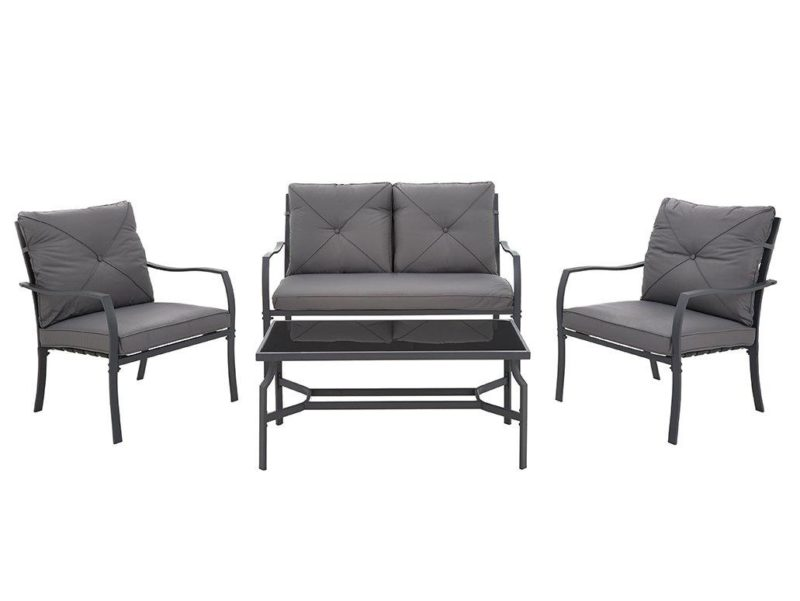 Grey outdoor sofa, 2 chairs and coffee table