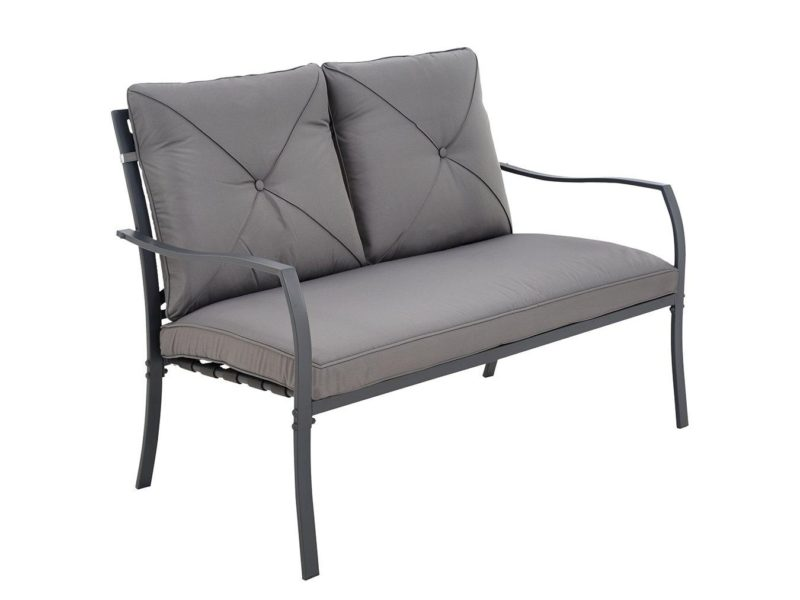 Outdoor sofa with grey cushions