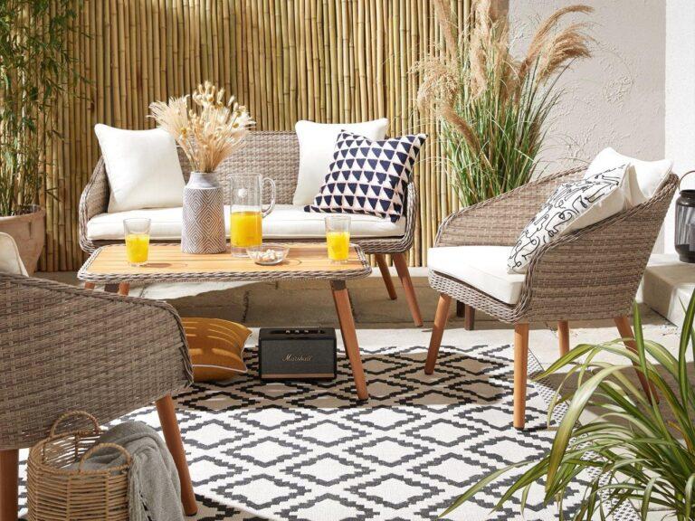 Woven rattan outdoor furniture set