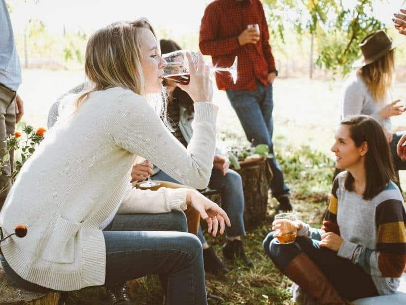 Enjoying a drink outdoors