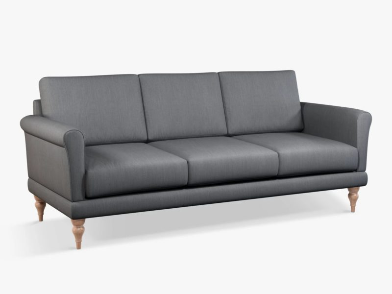 3-seater grey fabric sofa with scrolled arms and turned legs