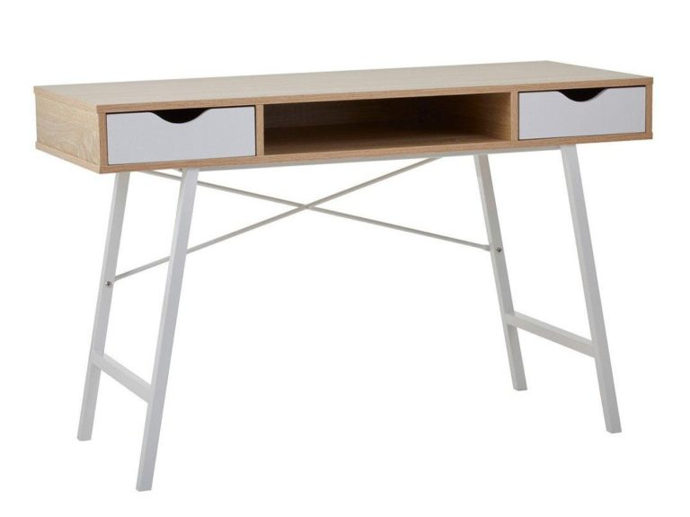 2 drawer desk with oak and white finish