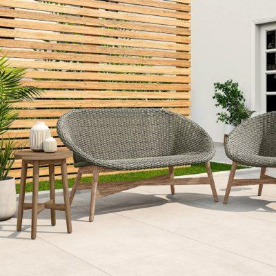 Teak and wicker garden furniture
