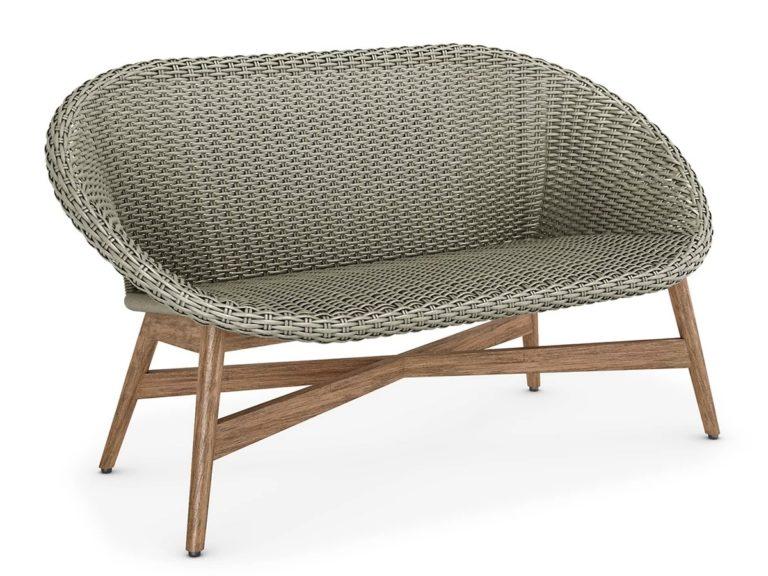 Wicker sofa with teak frame