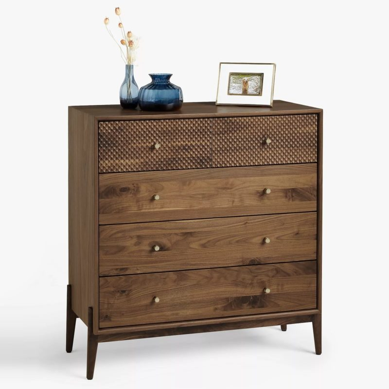 Walnut 5-drawer chest with textured drawer fronts