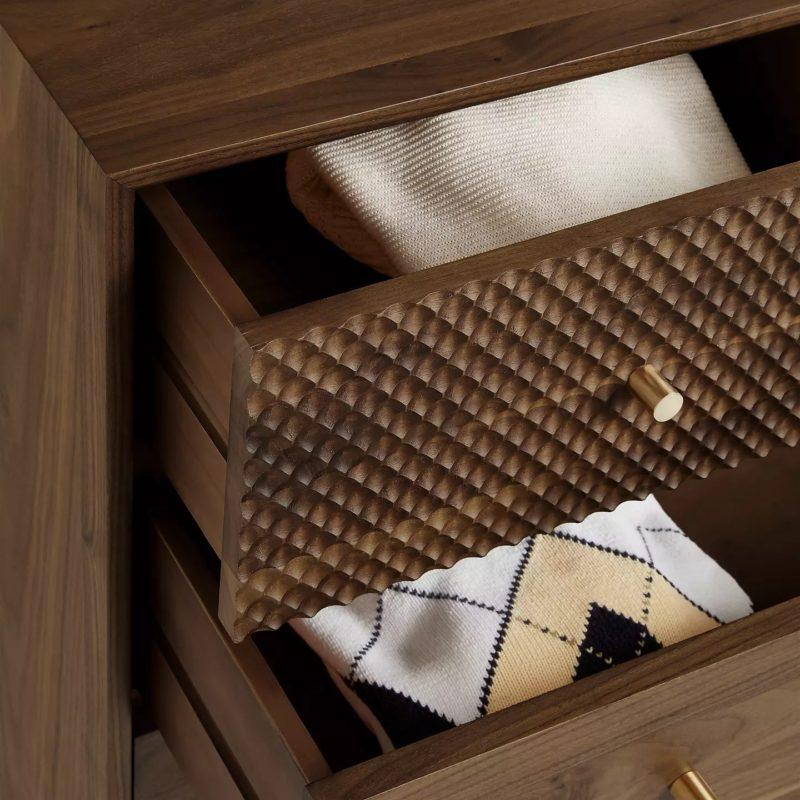 Carved drawer front