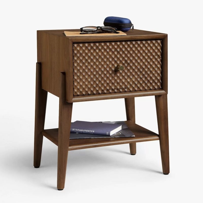 Walnut bedside table with textured drawer-front