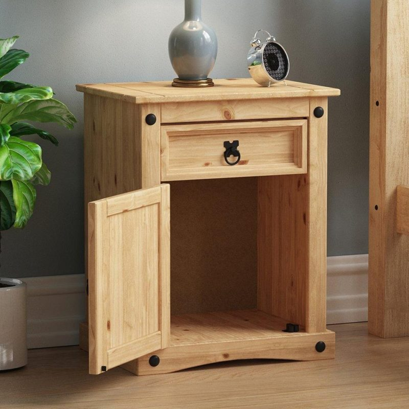 Traditional pine bedside cabinet