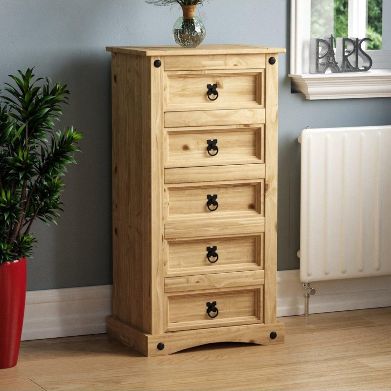 Pine 5-drawer tallboy