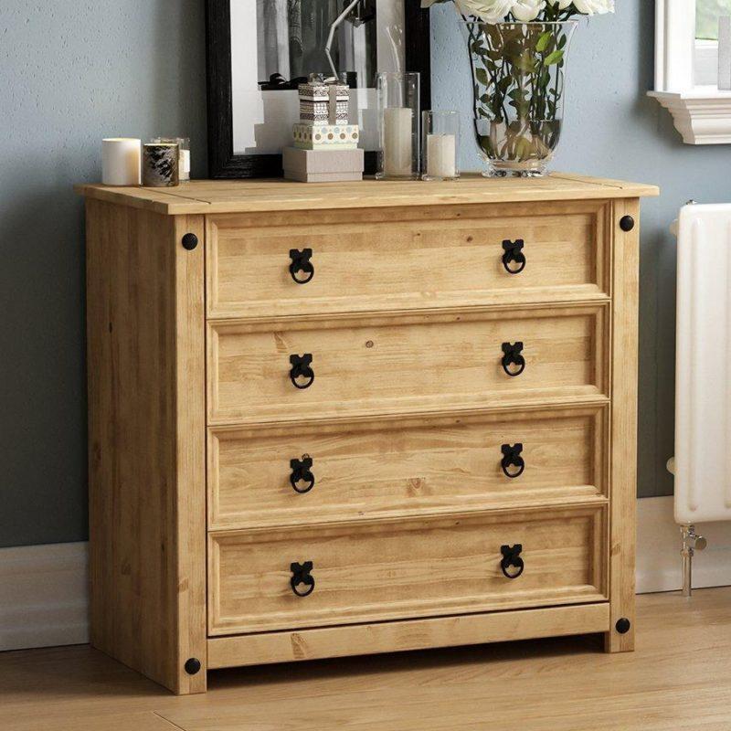 Pine wide 4-drawer chest