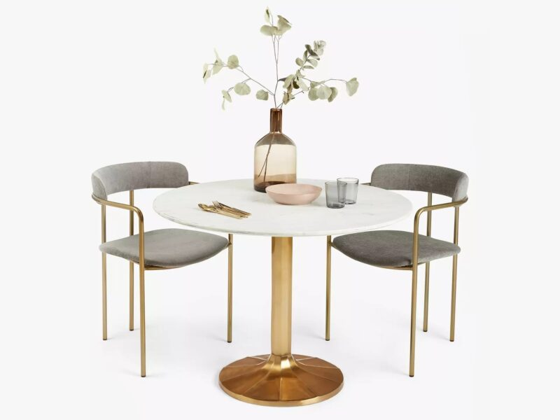 Round marble table with gold coloured base