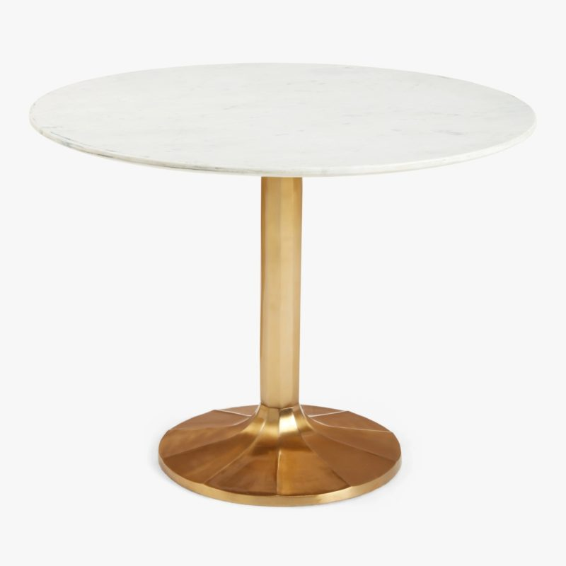 Marble top table with gold pedestal base