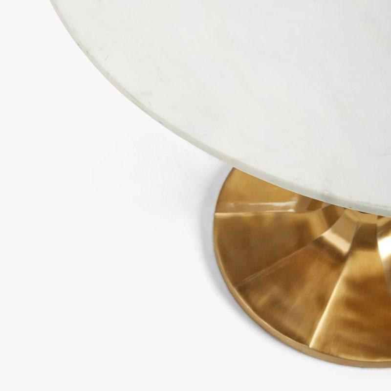 White marble table top and gold base