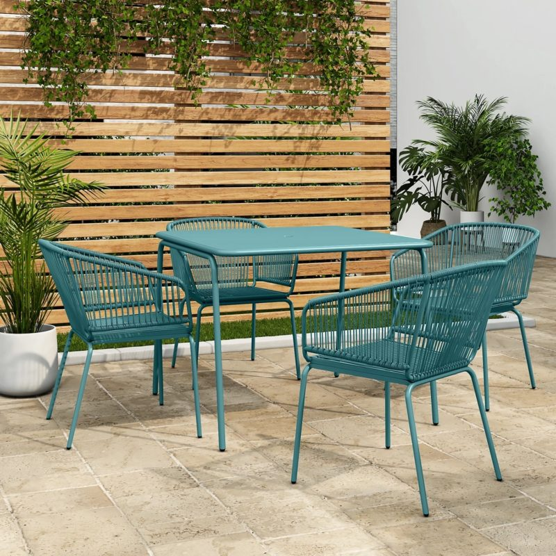 Teal 4-seater garden dining table