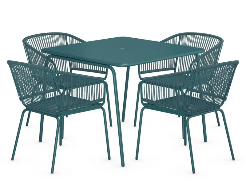 Teal 4-seater garden set