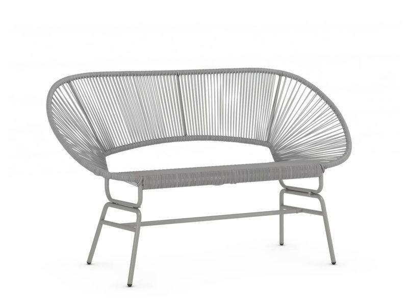 Grey rattan garden sofa