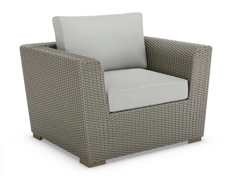 Grey rattan armchair with grey cushions