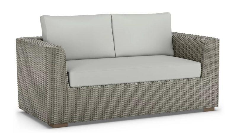 2-seater rattan sofa with grey cushions