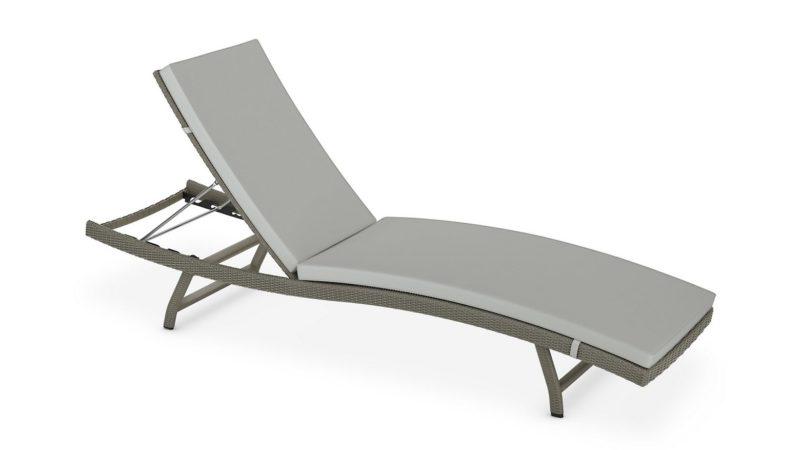Garden lounger with grey cushion