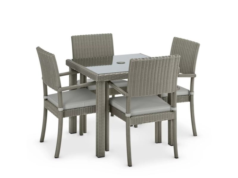 Square rattan dining table with 4 matching chairs